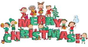 Enfants de Joyeux Noël sur des lettres illustration libre de droits