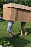 Enfants de mêmes parents avec la boîte en carton photographie stock