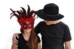 Enfants de mêmes parents célébrant le carnaval Photo stock