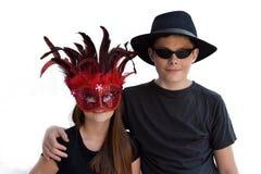 Enfants de mêmes parents célébrant le carnaval Photographie stock
