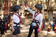 Enfants de mêmes parents donnant la haute cinq entre eux en parc Photographie stock libre de droits