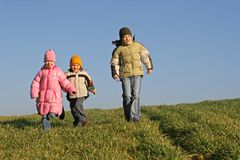 Enfants de mêmes parents marchant sur un pré Photos libres de droits