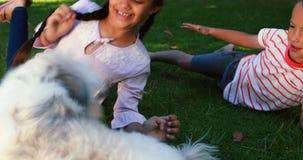 Enfants de mêmes parents s'asseyant avec leur chien en parc clips vidéos
