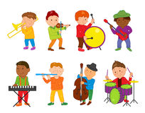 Enfants de musicien de bande dessinée Illustration de vecteur pour la musique d'enfants Photographie stock libre de droits