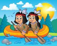 Enfants de natif américain dans le thème 3 de bateau Photo stock