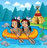 Enfants de natif américain dans le thème 2 de bateau Images stock