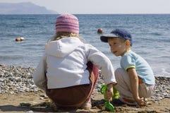enfants de plage Images libres de droits