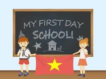 Enfants de sourire colorés, garçon et fille, tenant un drapeau national du Vietnam derrière une illustration de conseil pédagogiq illustration de vecteur