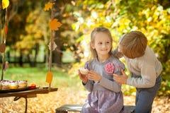 Enfants de sourire en parc d'automne Photos stock