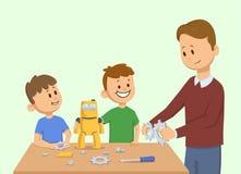 Enfants de sourire et un homme faisant le robot jaune de jouet ensemble Homme assemblant un robot pour les enfants Vecteur de ban Photographie stock libre de droits