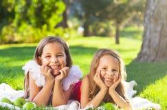 Enfants de sourire heureux jouant sur le pique-nique de famille Image libre de droits