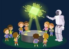 Enfants de tearches de robot Hologramme de nouvelle technologie puce Vecteur Photographie stock