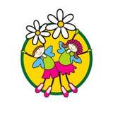 Enfants de vecteur sur des fleurs Illustration de Vecteur
