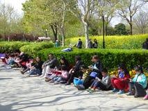 Enfants dessinant au parc de siècle Photo stock