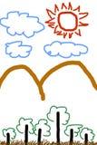 Enfants dessinant des arbres et des montagnes avec le soleil Photographie stock