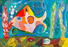 Enfants dessinant - poissons tropicaux Images libres de droits