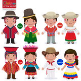 Enfants du monde-Bolivie-Equateur-Pérou-Venezuela illustration stock