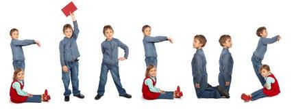 Enfants effectuant le collage de mot CIRQUE Image libre de droits