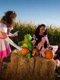 Enfants en bas âge dans des costumes de Veille de la toussaint image stock