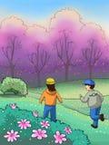 Enfants en beau stationnement de source illustration libre de droits