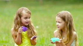 Enfants en bonne santé heureux ayant l'amusement jouant sur l'herbe Mouvement lent Fin vers le haut banque de vidéos
