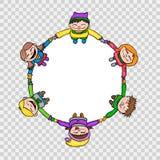 Enfants en cercle - illustration ronde de bande dessinée tirée par la main de style Photo stock
