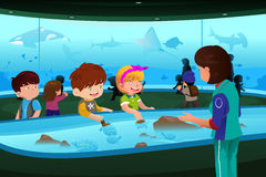 Enfants en excursion sur le terrain dans l'aquarium Photos stock