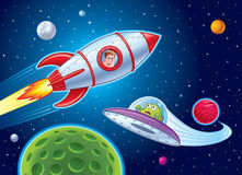 Enfants en Rocket Ship Sees Alien Illustration Libre de Droits