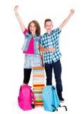 Enfants enthousiastes de nouveau à l'école Images libres de droits