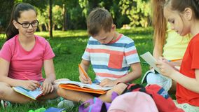 Enfants et éducation, un groupe d'écoliers banque de vidéos