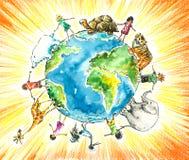 Enfants et animaux. Images libres de droits