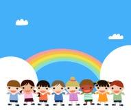Enfants et arc-en-ciel illustration de vecteur