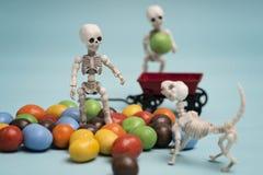 Enfants et bonbons au chocolat squelettiques photos libres de droits