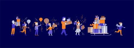 Enfants et caractères de caroon de cadeau, vacances d'hiver de carte de voeux Site Web de Joyeux Noël et de bonne année illustration stock