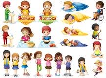 Enfants et différentes routines Photographie stock