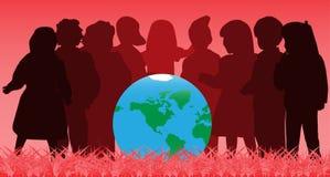 Enfants et globe Photo libre de droits
