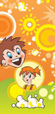 Enfants et maïs éclaté Image stock