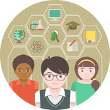 Enfants et matières d'enseignement Photo libre de droits