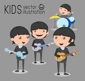 Enfants et musique, illustration de vecteur de quatre enfants dans une bande de musique, enfants jouant des instruments de musiqu Images stock