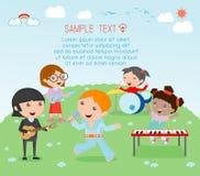 Enfants et musique, illustration de vecteur quatre de la fille dans une bande de musique, enfants jouant les instruments de musiq Photos stock