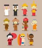 Enfants et nationalités du vecteur du monde : L'Asie et l'Océanie/Australie ont placé 3 illustration stock
