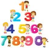 Enfants et numéros un zéro Image libre de droits