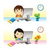 Enfants et ordinateur Photos stock