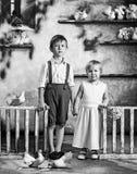 Enfants et pigeons Photo noire et blanche Fille et garçon blanc de soeur d'isolement par frère de fond images libres de droits