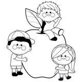 Enfants et pomme illustration stock