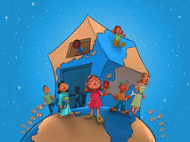 Enfants et professeur sur la maison globale Photographie stock libre de droits