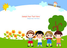 Enfants et trame illustration stock