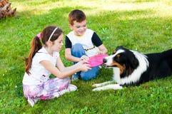 Enfants et un chien Photographie stock