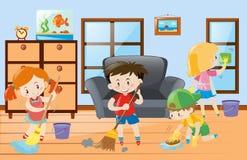 Enfants faisant des corvées à la maison illustration stock