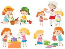 Enfants faisant différentes corvées illustration de vecteur
